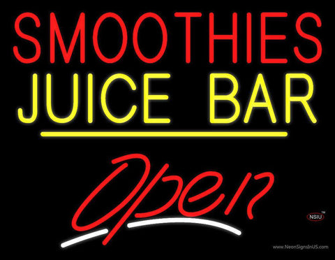 Smoothies Juice Bar Open Yellow Line Neon Sign