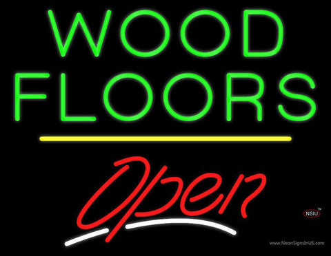 Wood Floors Script Open Yellow Line Neon Sign
