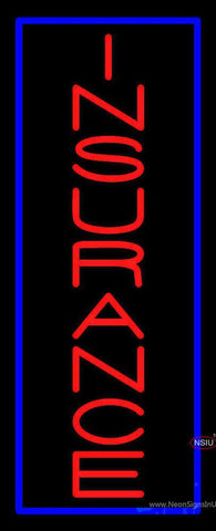Vertical Red Insurance Blue Border Neon Sign