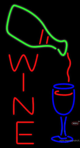 Wine With Wine Bottle Pouring Into Wine Glass Neon Sign