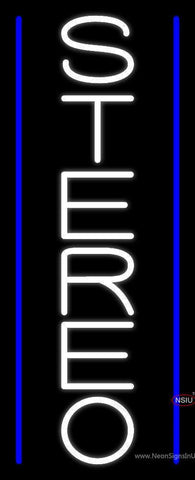Vertical White Stereo Block Blue Line  Neon Sign