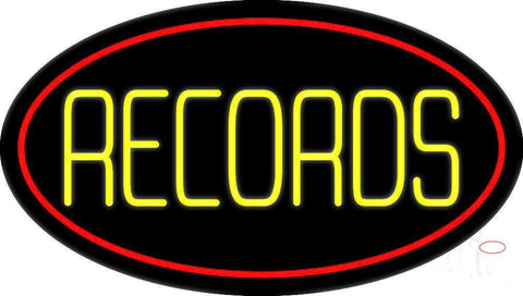 Yellow Records Red Border  Neon Sign