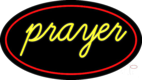 Yellow Prayer With Border Neon Sign