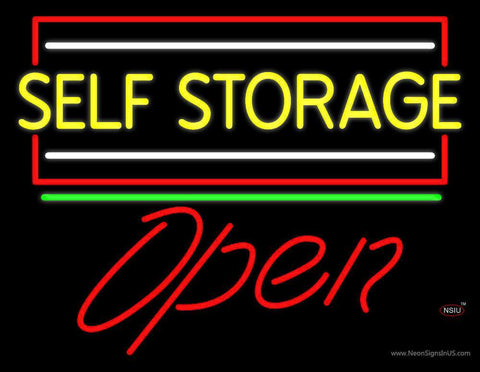 Yellow Self Storage Block With Open  Neon Sign