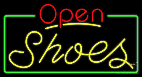 Yellow Shoes Open With Border Neon Sign