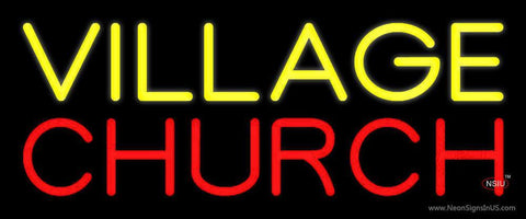 Yellow Village Red Church Neon Sign