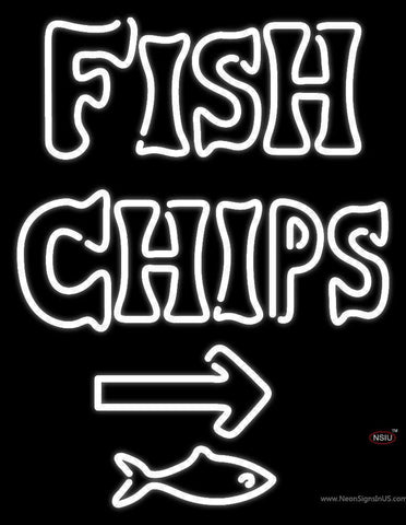 White Fish and Chips With Arrow Neon Sign