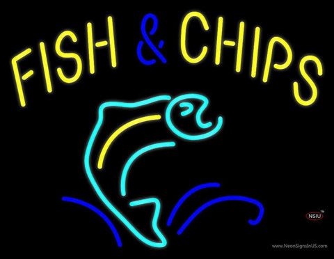 Yellow Fish and Chips Neon Sign
