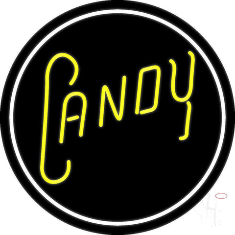 Round Yellow Candy Neon Sign