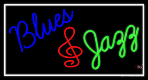 White Border Blues Jazz Neon Sign
