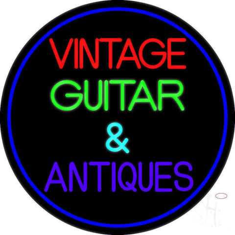 Yellow Vintage Guitars Neon Sign