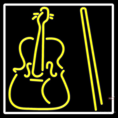 Yellow Violin Logo Neon Sign
