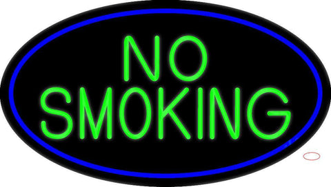 Green No Smoking Oval With Blue Border Neon Sign