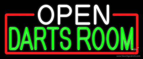 Open Darts Room With Red Border Neon Sign