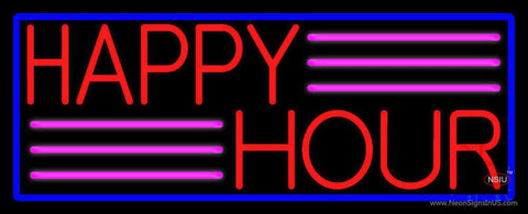 Red Happy Hour With Blue Border Neon Sign