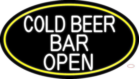 White Cold Beer Bar Open Oval With Yellow Border Neon Sign