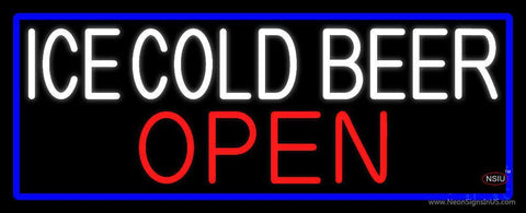 White Ice Cold Beer Open With Blue Border Neon Sign