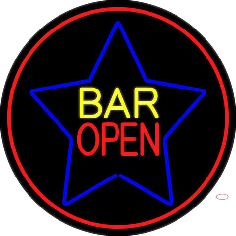 Yellow Bar Open Inside Blue Star Neon Sign