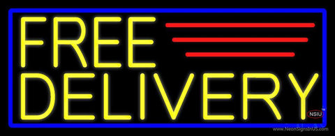 Yellow Free Delivery With Blue Border Neon Sign