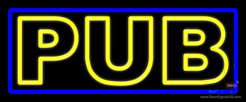 Yellow Pub With Blue Border Neon Sign