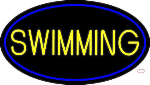 Yellow Swimming With Blue Border Neon Sign