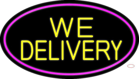 Yellow We Deliver Oval With Pink Border Neon Sign