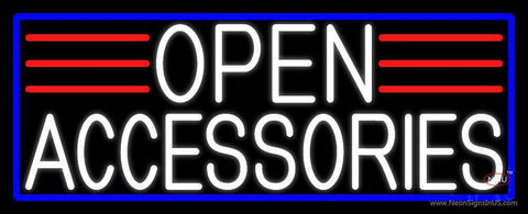 White Open Accessories With Blue Border Neon Sign