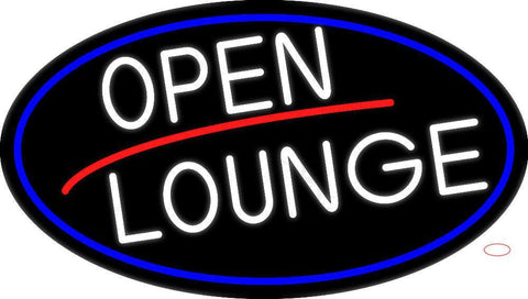 White Open Lounge Oval With Blue Border Neon Sign