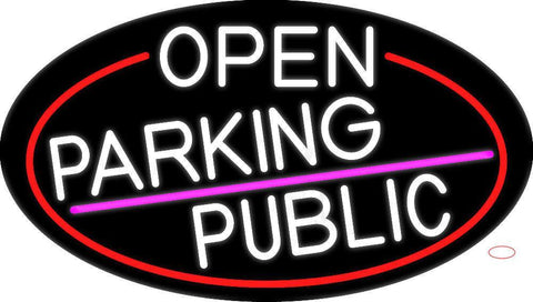 White Open Parking Public Oval With Red Border Neon Sign