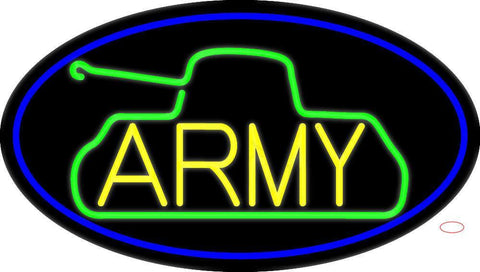 Yellow Army With Blue Oval Border Neon Sign