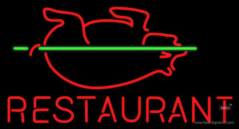 Restaurant With Pig Neon Sign