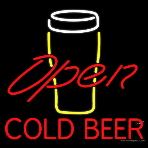 Yellow Glass With Cold Beer Open Neon Sign