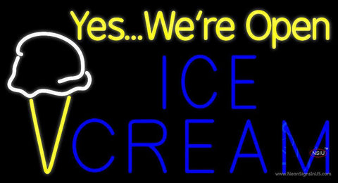 Yes We Are Open Ice Cream Cone Neon Sign