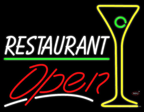 White Restaurant With Martini Glass Open Neon Sign