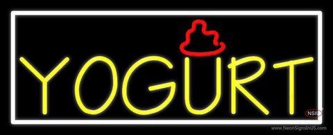 Yellow Yogurt With White Border Neon Sign