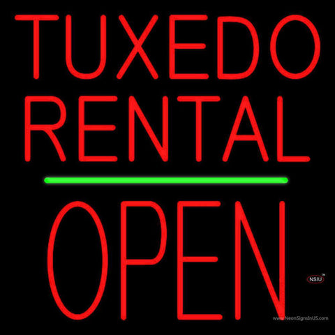 Tuxedos Rental Block Open Green Line Neon Sign