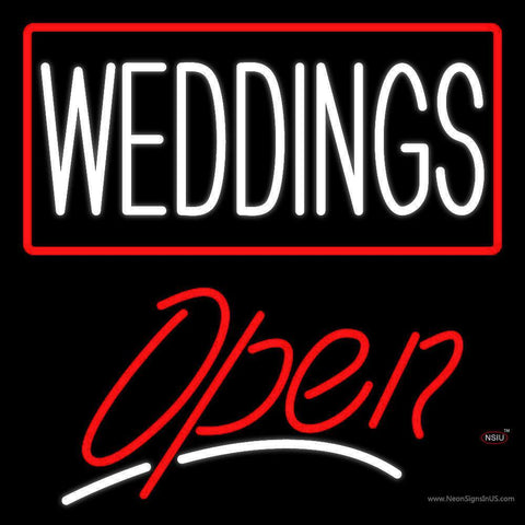 Weddings Script Open Neon Sign