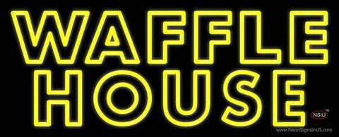 Yellow Double Stroke Waffle House Neon Sign