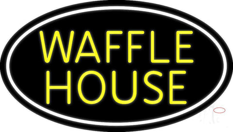 Yellow Waffle House White Oval Neon Sign