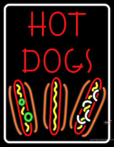 With Border Red Hot Dogs Neon Sign