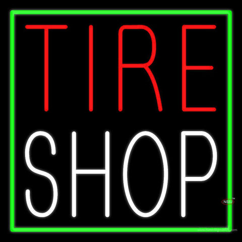 Red Tire Shop Block Neon Sign