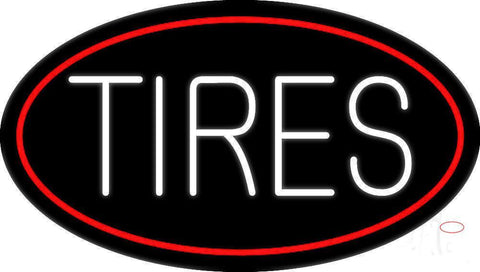 Tires Block Oval Neon Sign