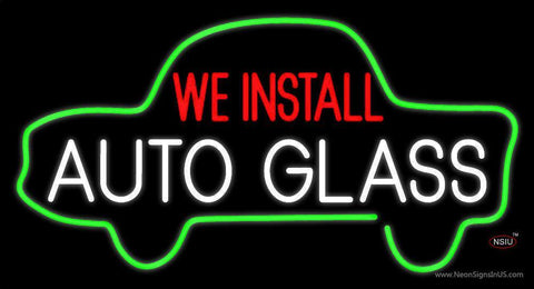 We Install Auto Glass Car Logo Neon Sign