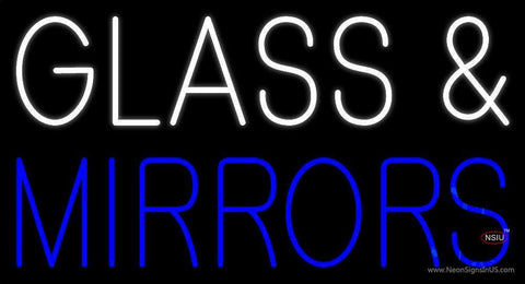White Glass And Blue Mirrors Neon Sign