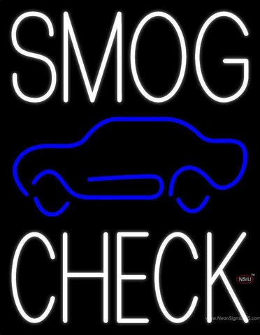 White Smog Check Car Logo Neon Sign