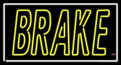 Yellow Brake With White Border Neon Sign