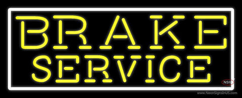 Yellow Brake Service With Border Neon Sign