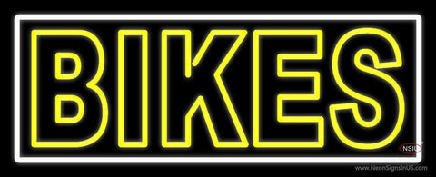 Yellow Double Stroke Bikes Neon Sign