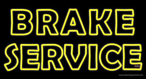 Yellow Double Stroke Brake Service Neon Sign