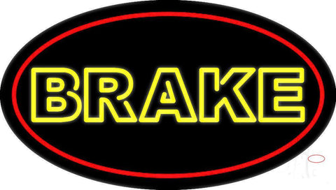 Yellow Double Stroke Brake With Border Neon Sign